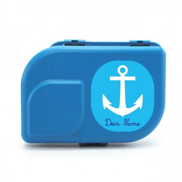 Bio-Brotdose blau mit Motiv Anker